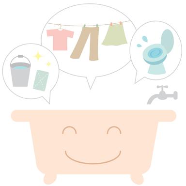 お風呂の残り湯の再利用のイラスト
