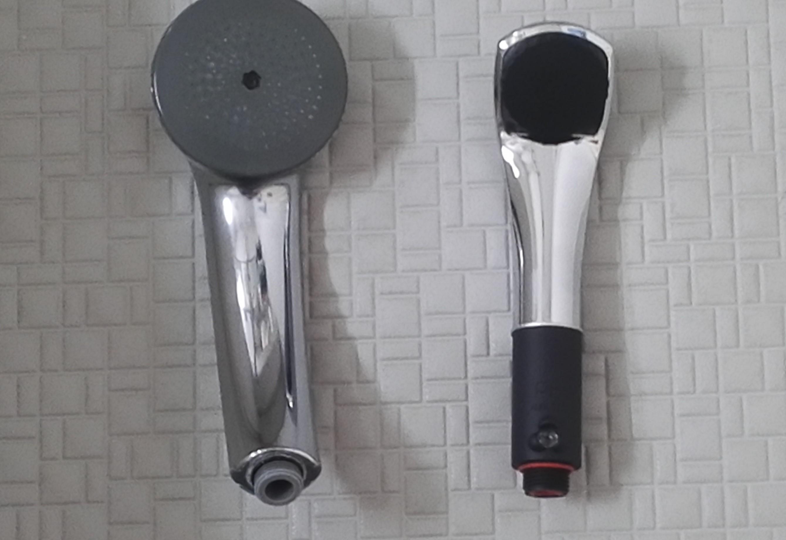 いままでのシャワーヘッドとピュアブルⅡの比較写真