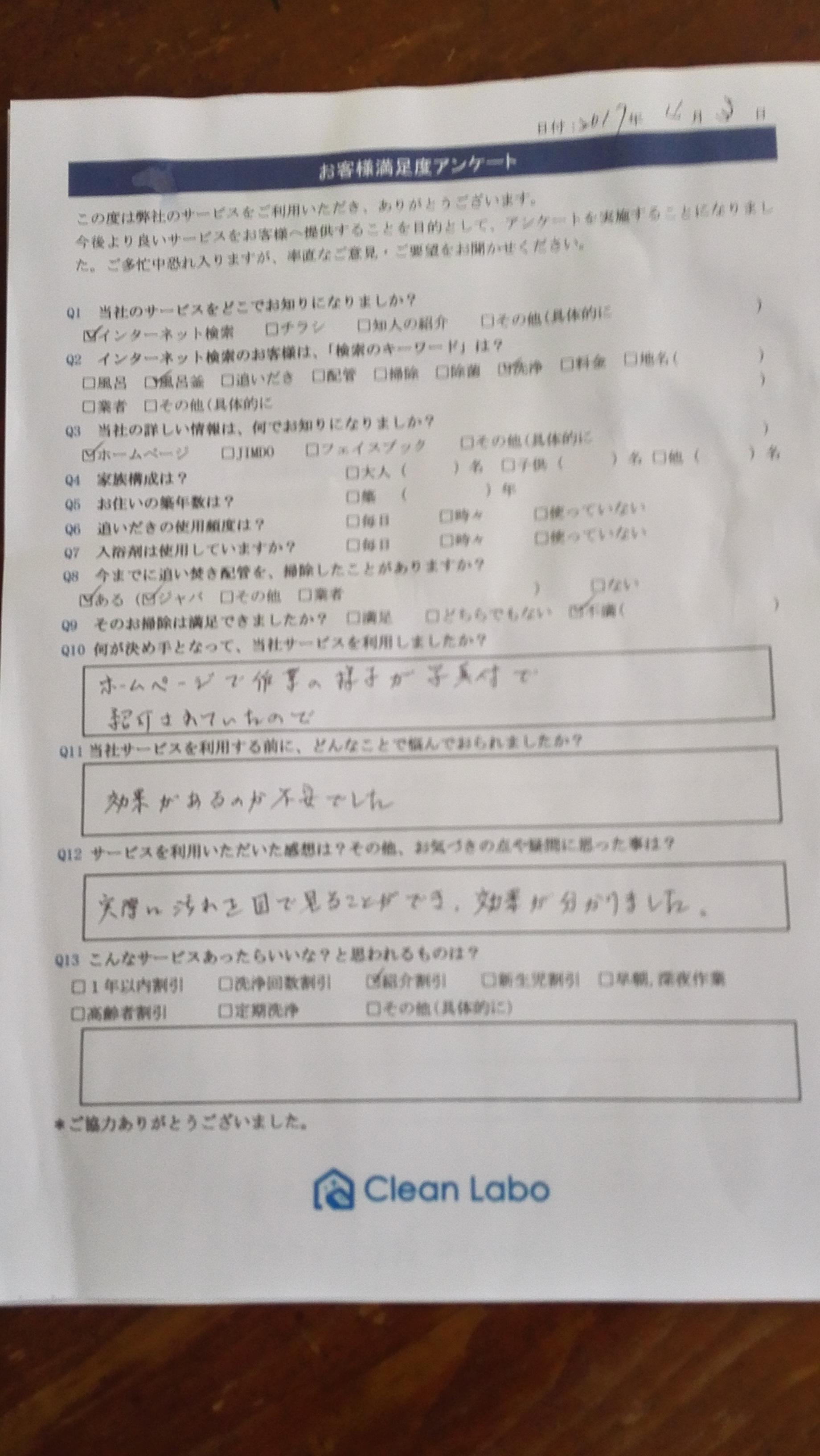 市川市K様風呂釜洗浄アンケート