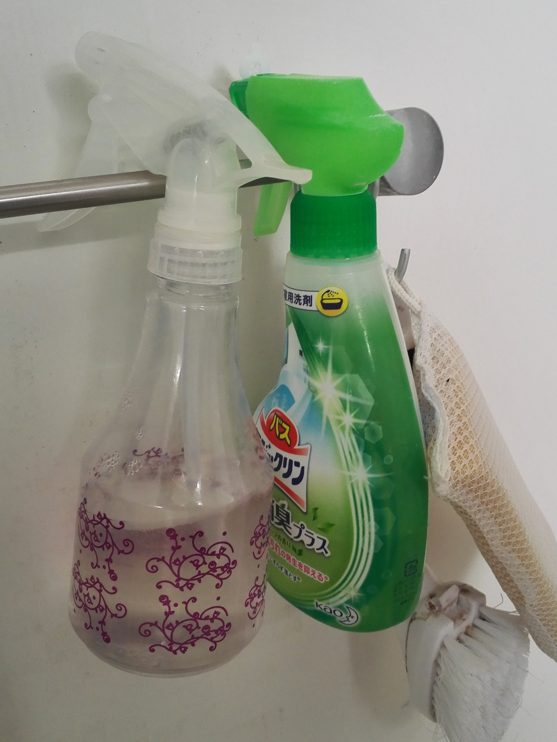 洗剤は吊り下げて